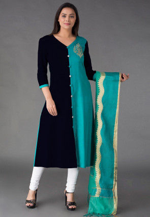 Embroidered Cotton A Line Suit in Black and Teal Blue