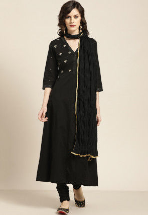 Embroidered Cotton A Line Suit in Black