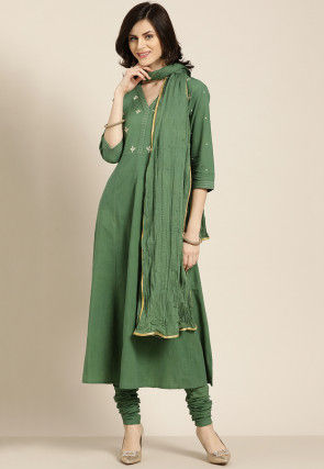 Embroidered Cotton A Line Suit in Olive Green