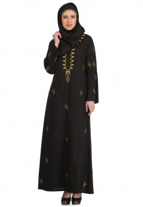 Embroidered Cotton Abaya in Black