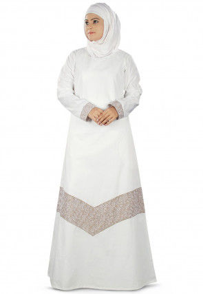 Embroidered Cotton Abaya in Off White