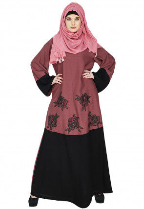 Embroidered Cotton Abaya in Old Rose and Black