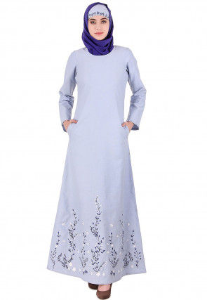 Embroidered Cotton Abaya in Pastel Blue