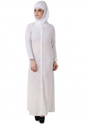 Embroidered Cotton Abaya in White