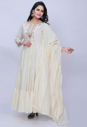 Embroidered Cotton Abaya Style Suit in Cream