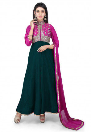 Hand Embroidered Cotton Silk Abaya Style Suit in Dark Green and Fuchsia