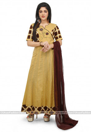 Embroidered Cotton Abaya Style Suit in Light Mustard