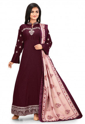 Embroidered Cotton Abaya Style Suit in Maroon