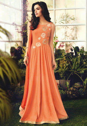 Embroidered Cotton Abaya Style Suit in Orange