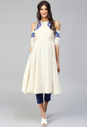 Embroidered Cotton Anarkali Kurta Set in Off White