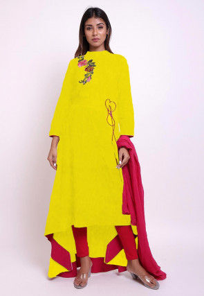 Embroidered Cotton Asymmetric A Line Suit in Yellow