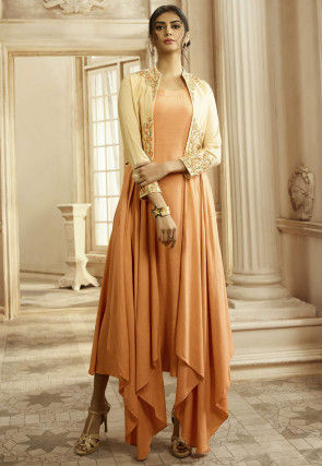 Embroidered Cotton Asymmetric Dress in Light Orange