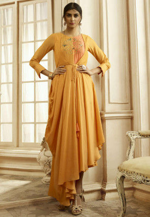 Embroidered Cotton Asymmetric Dress in Mustard