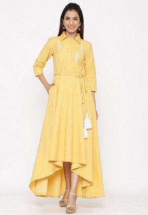 Embroidered Cotton Asymmetric Dress in Yellow