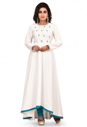 Embroidered Cotton Asymmetric Kurta Set in White