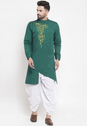Embroidered Cotton Asymmetric Side Open Dhoti Kurta in Green