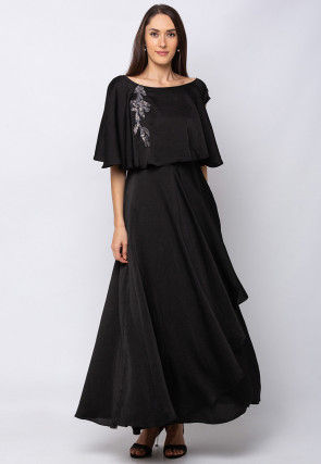 Embroidered Cotton Cape Style Gown in Black