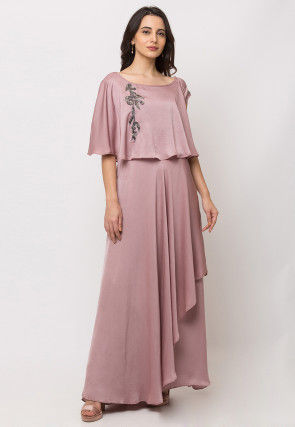 Embroidered Cotton Cape Style Gown in Pink