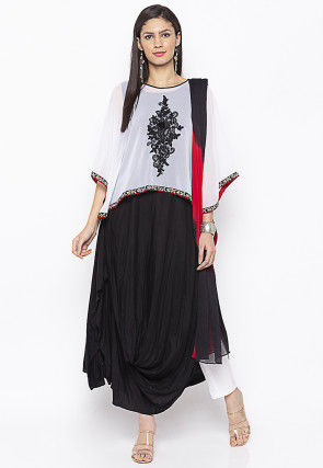 Embroidered Cotton Cape Style Pakistani Suit in Black