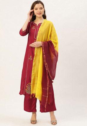 Embroidered Cotton Chanderi Pakistani Suit in Maroon