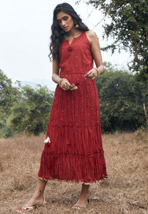 Embroidered Cotton Crushed Midi Dress in Red
