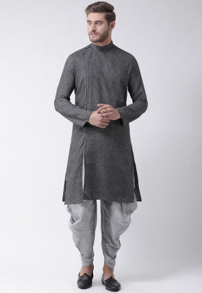 Embroidered Cotton Dhoti Kurta in Charcoal