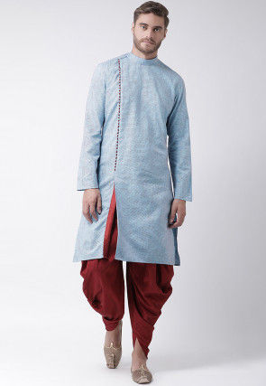 Embroidered Cotton Dhoti Kurta in Light Blue