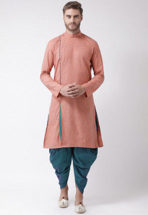 Embroidered Cotton Dhoti Kurta in Peach