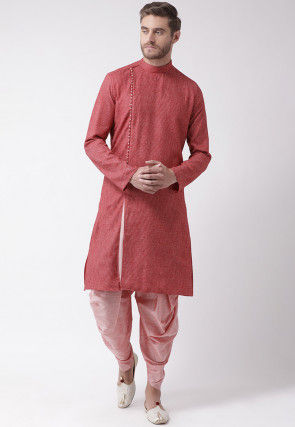 Embroidered Cotton Dhoti Kurta in Red