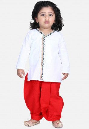 Embroidered Cotton Dhoti Kurta in White