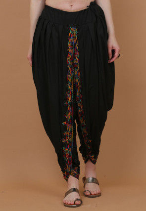 Embroidered Cotton Dhoti Pant in Black