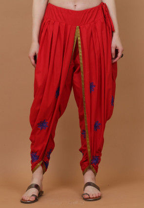 Embroidered Cotton Dhoti Pant in Red