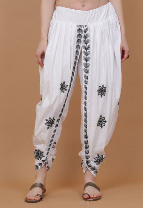 Embroidered Cotton Dhoti Pant in White