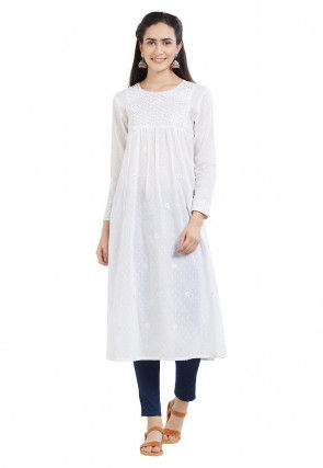 Embroidered Cotton Dobby A Line Kurta in Off White
