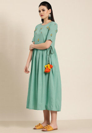 Embroidered Cotton Dress in Dusty Blue