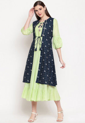 Embroidered Cotton Dress in Light Green and Black