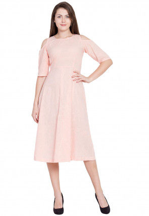 Embroidered Cotton Dress in Light Peach