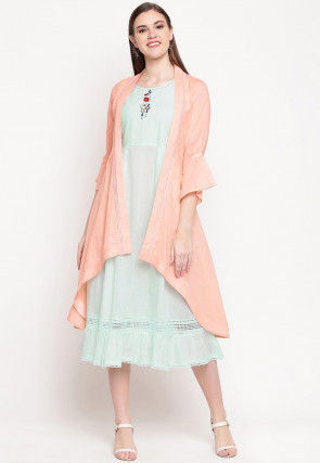 Embroidered Cotton Dress in Light Sea Green and Peach