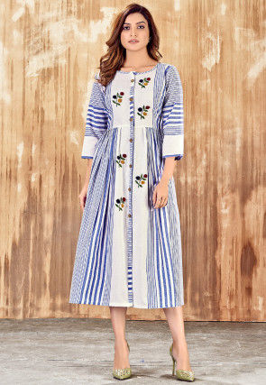 Embroidered Cotton Dress in Off White and Blue