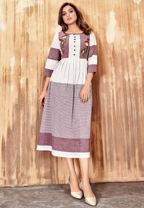 Embroidered Cotton Dress in Off White and Magenta