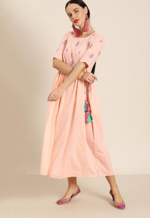 Embroidered Cotton Dress in Peach