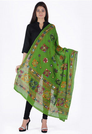 Embroidered Cotton Dupatta in Green