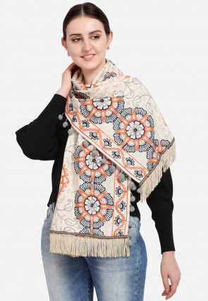 Aari Embroidered Cotton Stole in Off White