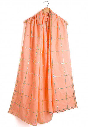 Embroidered Cotton Dupatta in Peach