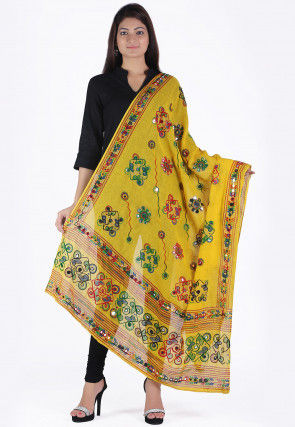 Embroidered Cotton Dupatta in Yellow