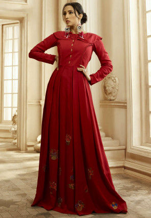 Embroidered Cotton Flared Gown in Red
