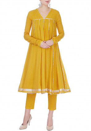 Embroidered Cotton Flared Kurta Set in Yellow