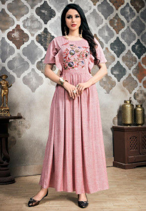 Embroidered Cotton Flared Maxi Dress in Pink