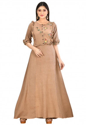 Embroidered Cotton Flex Gown in Fawn