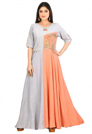 Embroidered Cotton Flex Gown in Grey and Orange